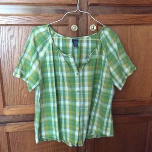 Basic editions women's blouse green & white plaid